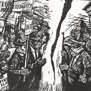 Robert Hodgell, Chasm (linocut, c. 1968)