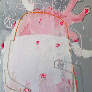 Jason Hackenwerth, Visit With An Angel; Oil, spray paint and pigment stick, on canvas