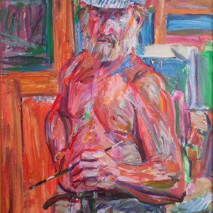 Robert Hodgell: untitled self-portrait; acrylic on board