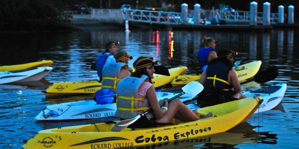 Students on sunset kayak trip