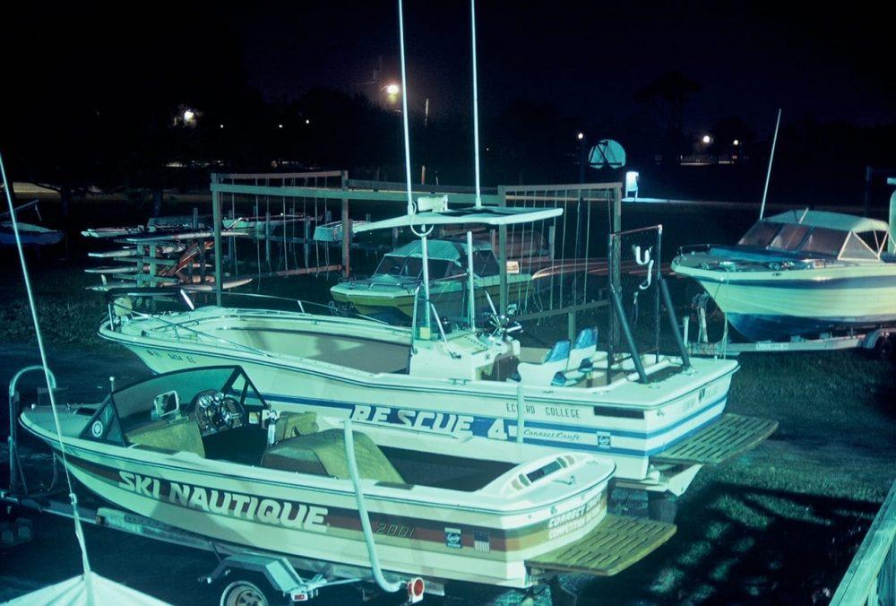 Patrol boat at night