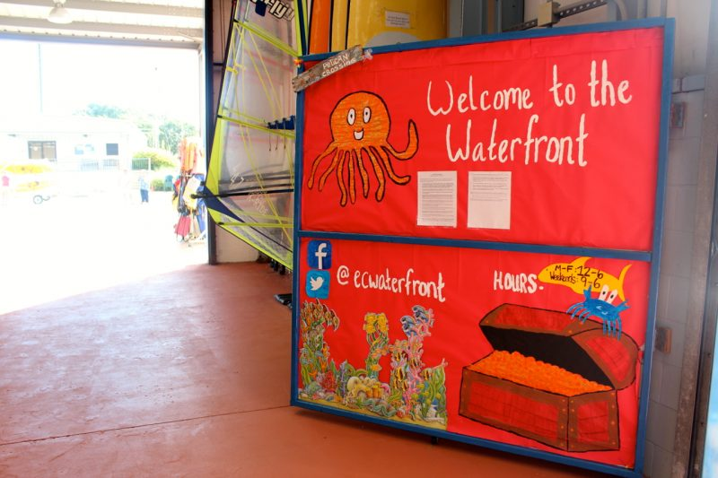 Sign saying Welcome to the Waterfront