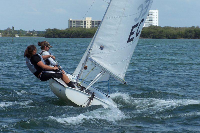 Students heeling a sailboat