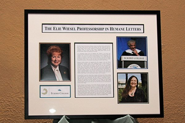 Plaque commemorating the Elie Wiesel Professorship in Humane Letters