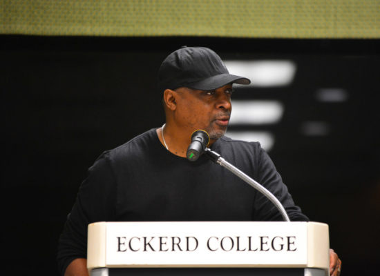 Chuck D. of the band Public Enemy, emcee, author, and producer speaking in Fox Hall