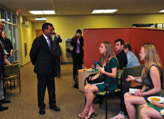 Mohamed Nasheed, environmental activist and fourth president of the Maldives speaking with students