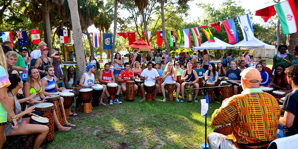 Students in a drum line during Festival of Cultures