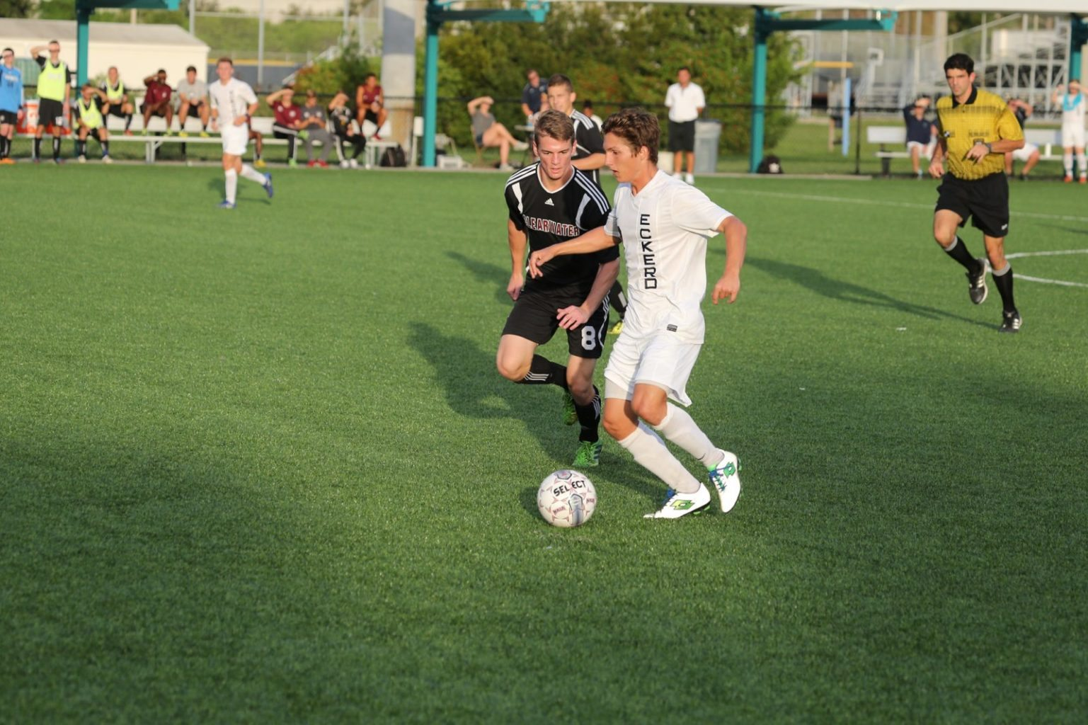 Men's soccer team playing in a game against Clearwater