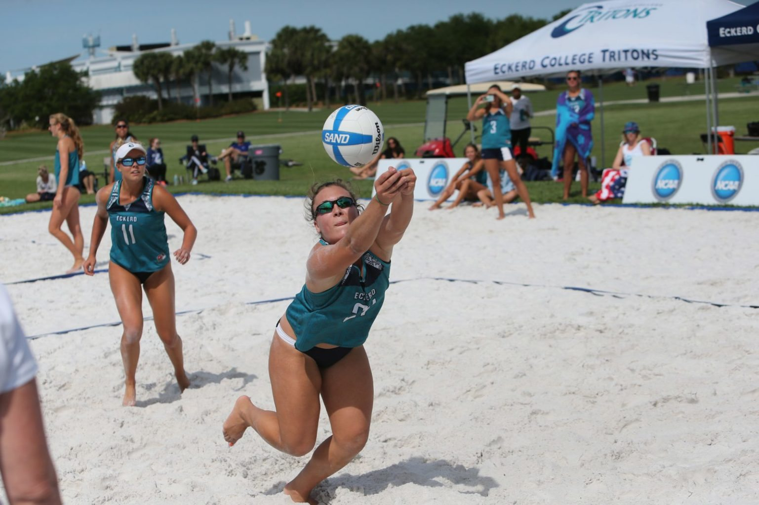 Eckerd College Tritons sand volleyball team playing in a match