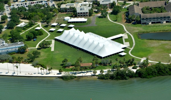 Aerial of commencement tent