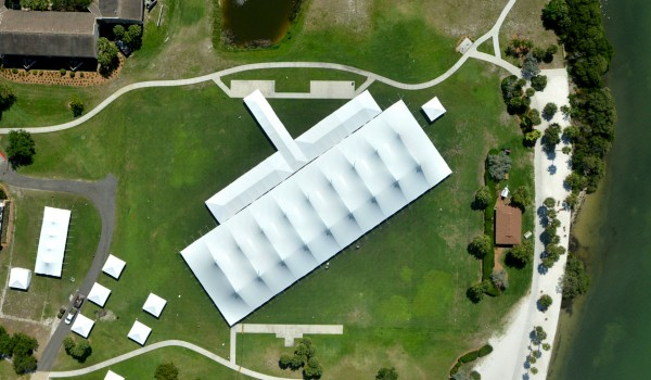Overhead aerial of Commencement tent