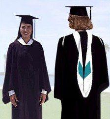 Student wearing graduation regalia