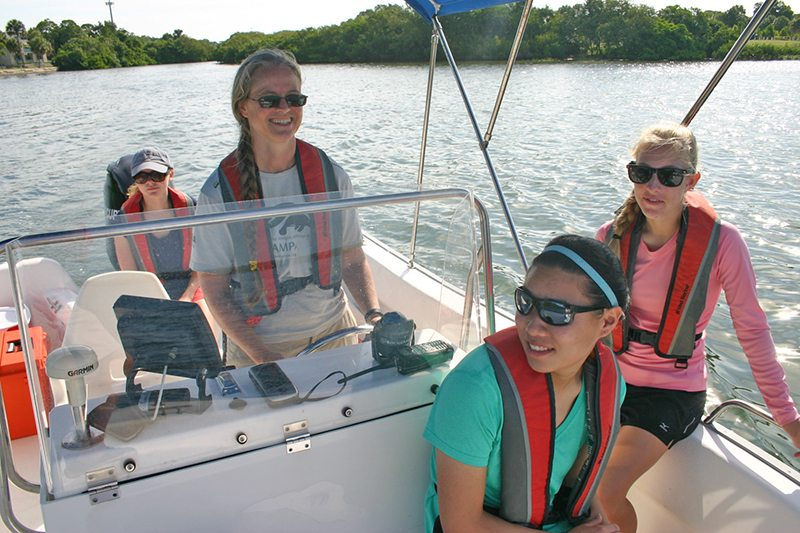 Dr. Gowans and students on a boat