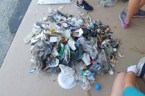 Pile of trash containing plastics