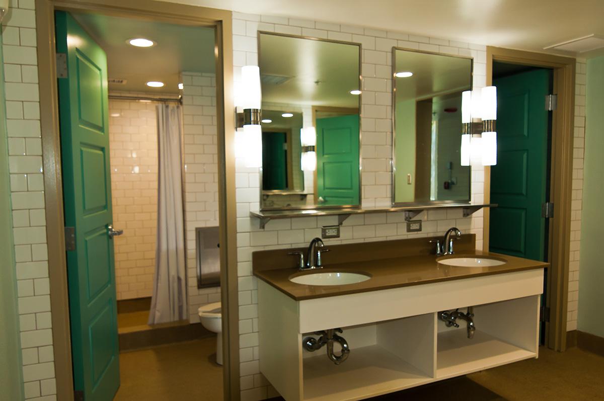 Residence hall bathroom