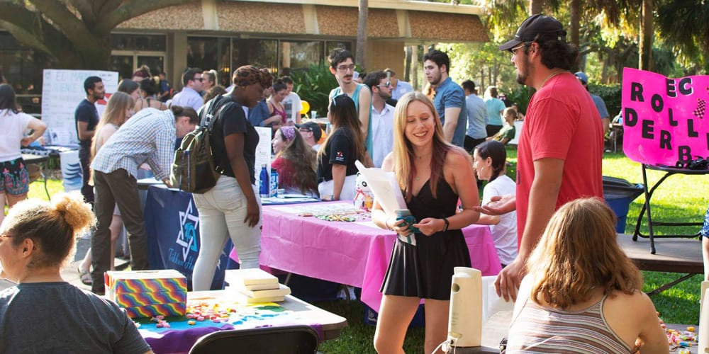 Students at outdoor club fair