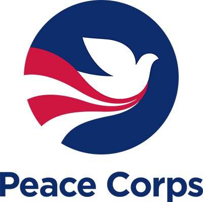 Dove flying with American flag colors with Peace Corps text below