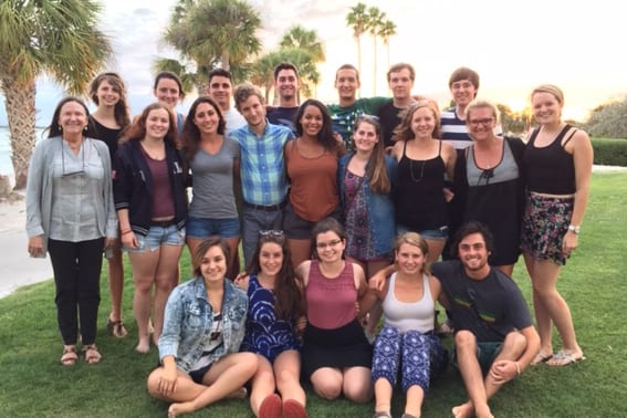Group of Ford scholar students with Dr. Johnston on South Beach