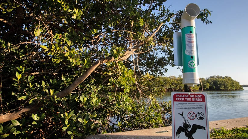 Fishing line collection receptacle on Eckerd College campus