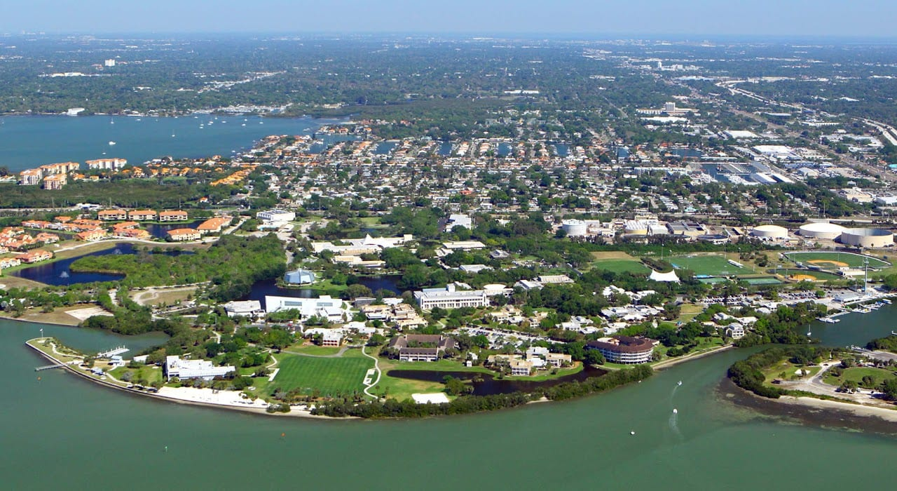 Aerial view of Eckerd campus surrounded by water