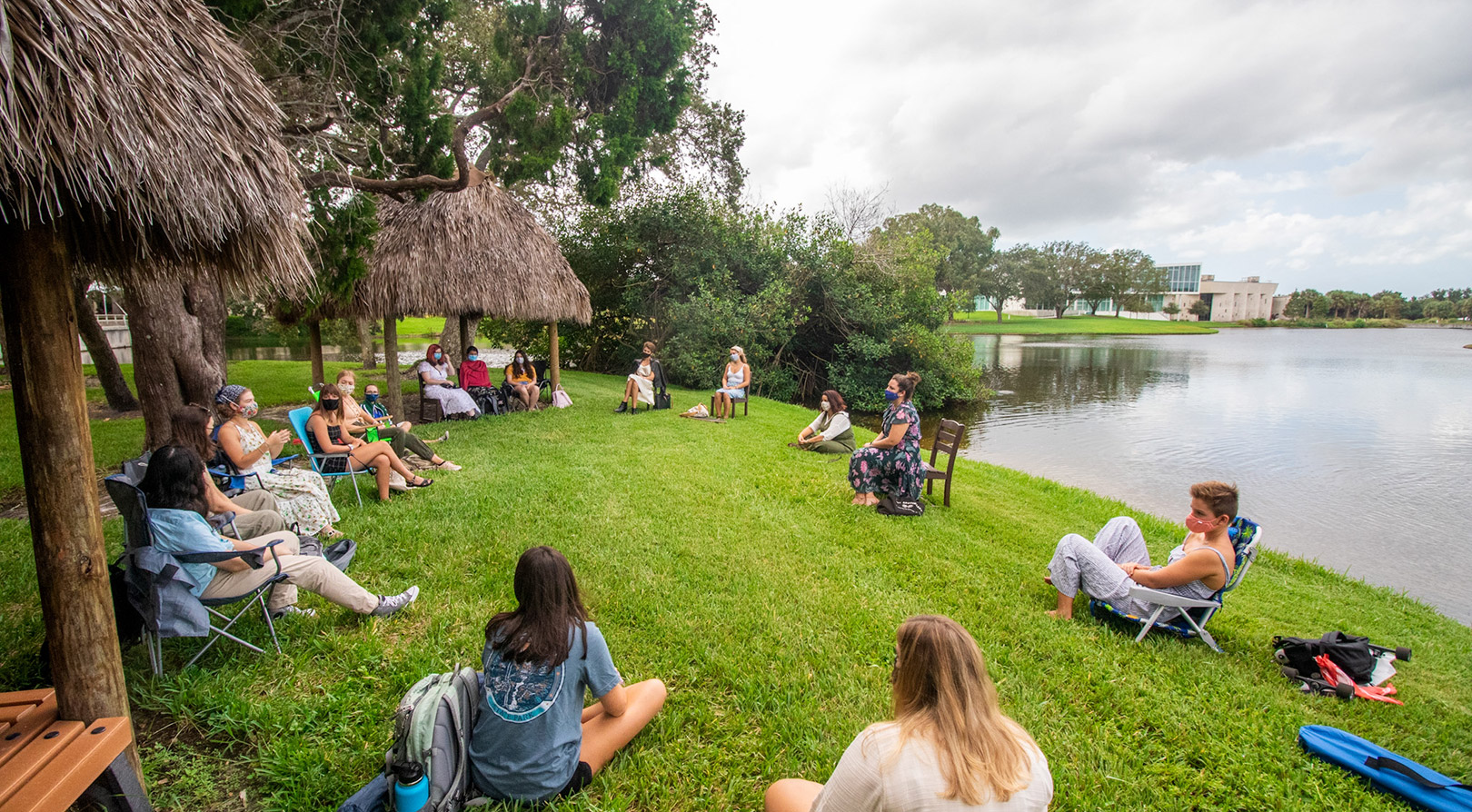 Outdoor class taught by chickees from Seminole Tribe of Florida